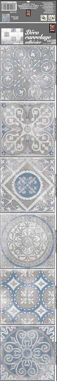 Dé coration adhé sive pour CARRELAGE Carreaux de Ciment Antique Elvas, Polyvinyle, Gris Souris, 15 x 15 x 0.1 cm PLAGE S.A. 260583