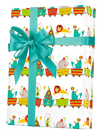 Amazon Com Circus Baby Shower Gift Wrap Wrapping Paper Birthday