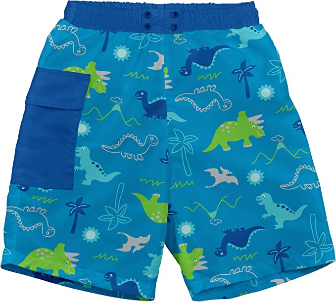 Aqua Dinosaurs Toddler Boys Pocket Trunks with Built-in Reusable Absorbent Swim Diaper i play 4T