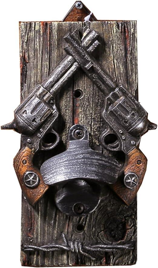 6~RUSTIC WESTERN GUN REVOLVER STAR CAST IRON WALL MOUNT BOTTLE OPENERS~FREE SHIP