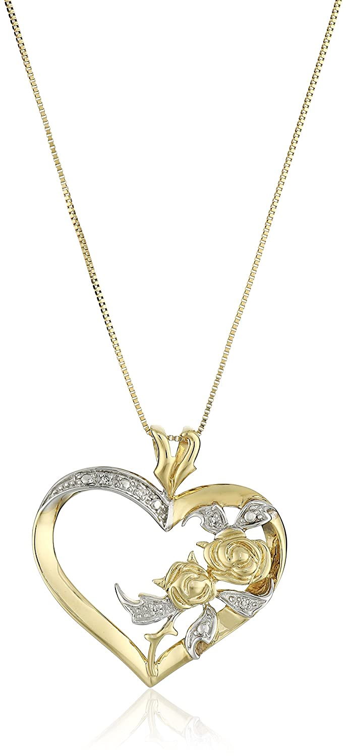 Amazon 10k yellow gold diamond accent heart pendant necklace amazon 10k yellow gold diamond accent heart pendant necklace 18 necklaces for women jewelry aloadofball