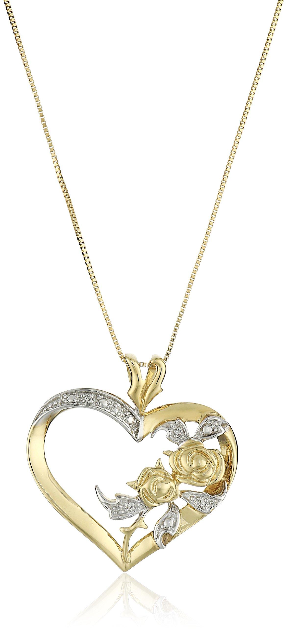 10k Yellow Gold Diamond Accent Heart Pendant Necklace, 18''