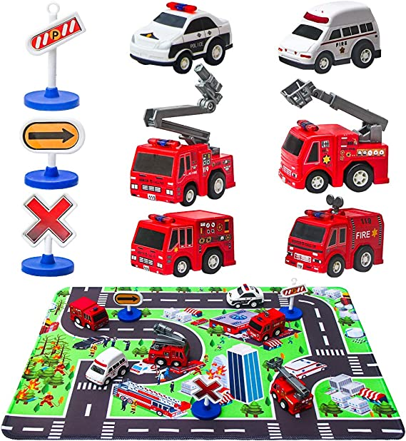 Fire Truck Toys with Play Mat