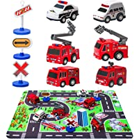 "Fire Truck Toys with Play Mat, 6 Fire Engines, 3 Road Signs, 14"" x 18"" Fire Rescue Playmat, Mini Pull Back Car Toys for 2 3 4 5 Year Old Boy Toddlers"