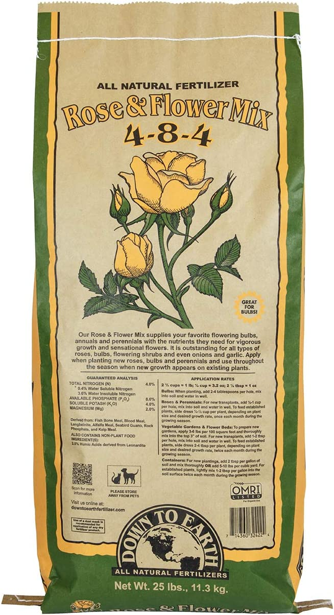 Down To Earth Organic Rose & Flower Fertilizer Mix 4-8-4, 25 lb