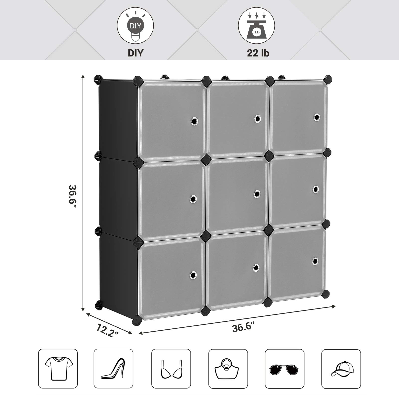 SONGMICS Cube Storage Organizer, 9-Cube DIY Plastic Closet Cabinet, Modular Bookcase, Storage Shelving with Doors for Bedroom, Living Room, Office, 36.6 L x 12.2 W x 36.6 H Inches Black ULPC33HV1 by SONGMICS (Image #2)