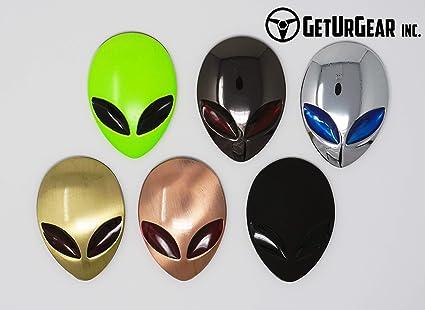 2Pcs 3D Alien ET Head UFO Metal Car Sticker Auto Motorcyle Badge Emblem Decals