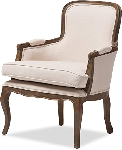 Baxton Studio Napoleon Traditional French Accent Chair, Ash