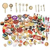 SIX VANKA Miniature Food Drinks Toys 110pcs Mixed Resin Pizza Hamburgers French Fries Wine Decoration Tableware Doll house fo