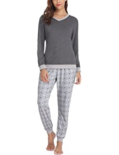 Hawiton Pijama Mujer Invierno Algodon Mangas Largas Pantalones Largo 2 Piezas