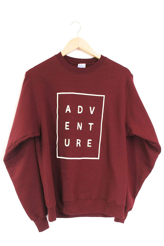 18a71d731ca3 Amazon.com  Era of Artists Adventure Maroon Graphic Crewneck Sweatshirt   Clothing