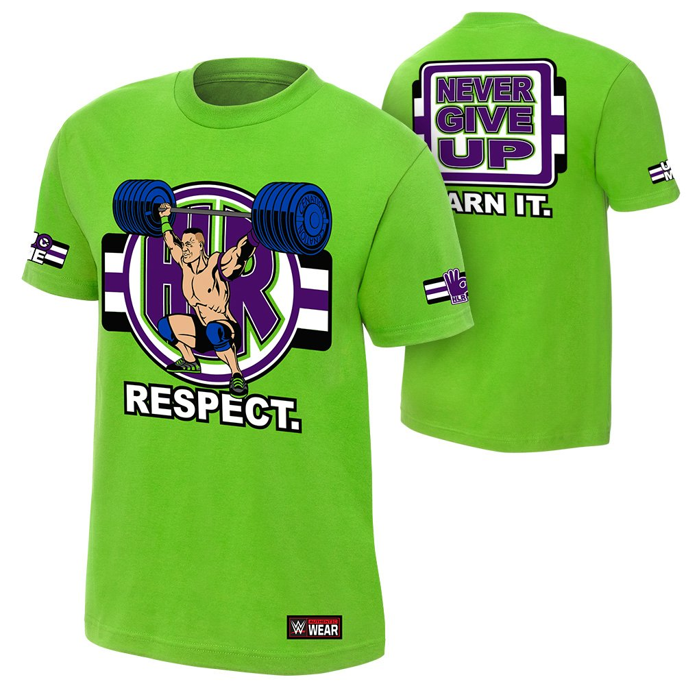 WWE John Cena Cenation Respect Youth T-Shirt Lime Green Medium by WWE Authentic Wear