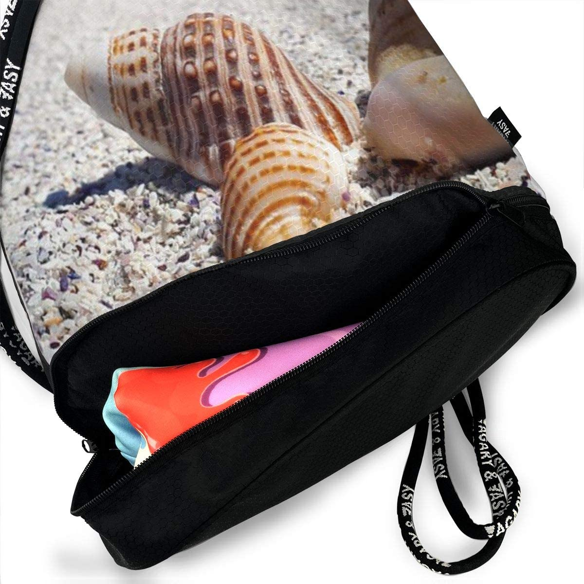 Beauty Seashells Print Drawstring Bag Backpack Sport Travel Gym School Hiking Yoga Beach Cinch Bags Bundle Backpack For Women//Men