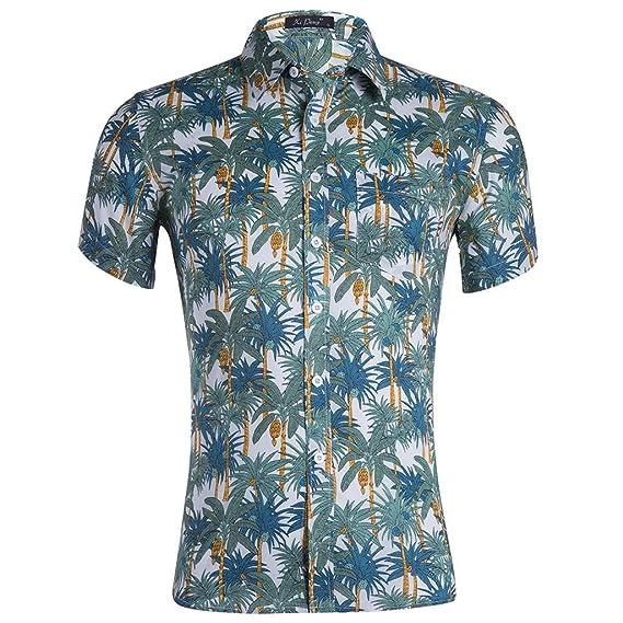 Mens Summer Style Short Sleeve Printed Turn-Down Collar Beach Wear Shirt Top Tee