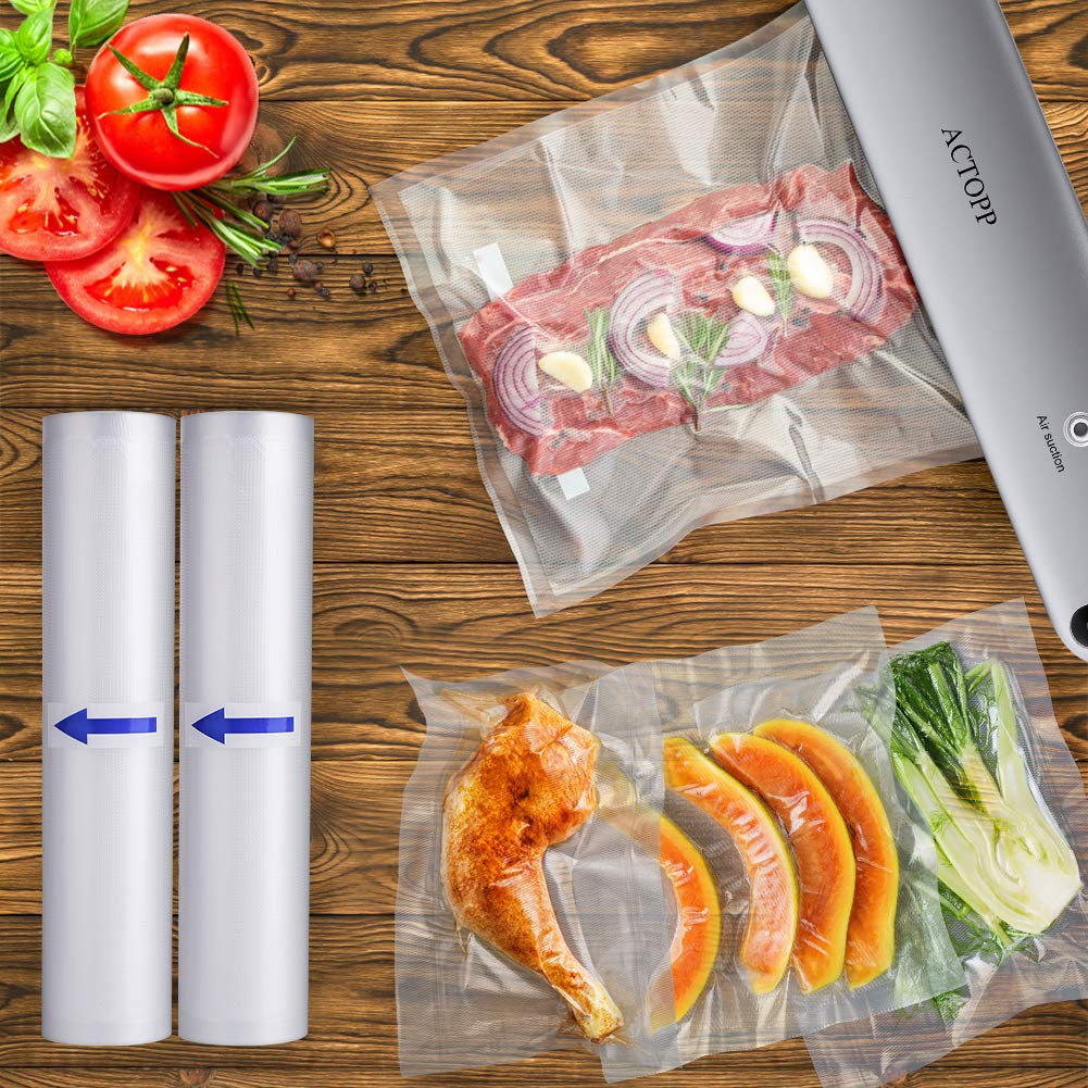 ACTOPP Sacs sous vide, 2 rouleaux de 28x500 cm idéals pour toutes les machines sous vide alimentaires