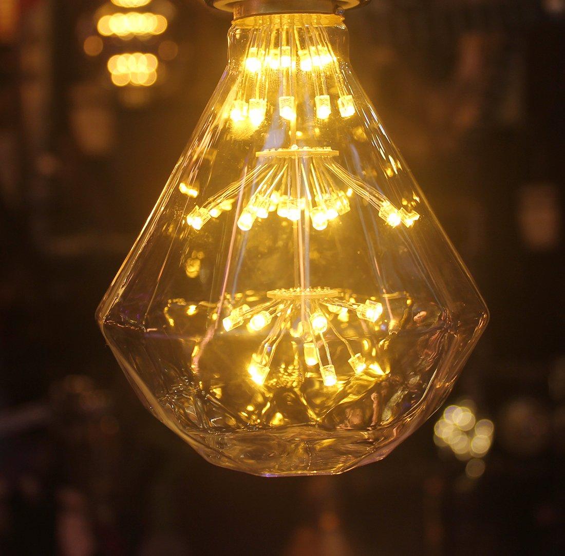 Romantic Retro Starlight Edison Bulb, Diamond Shaped Led Bulb,2 W,2700 K Warm Yellow (White Glass), Led Filament (Not Dimmable) by Foofoo