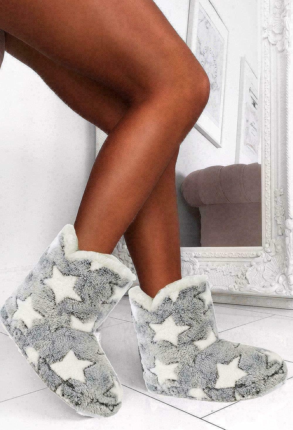 Keanu Ladies /& Girls White Star Grey Bootie Slippers Matching Mum /& Daughter