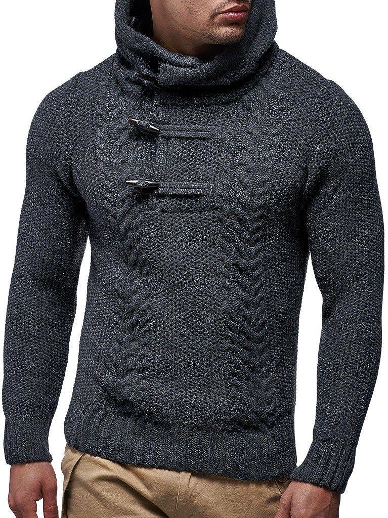 LEIF NELSON Men's Hoodie Hooded Pullover Knit Sweater with Hood Longsleeve Sweater Sweatshirt Long Sleeve Pullover Rope LN20231N LN20231N