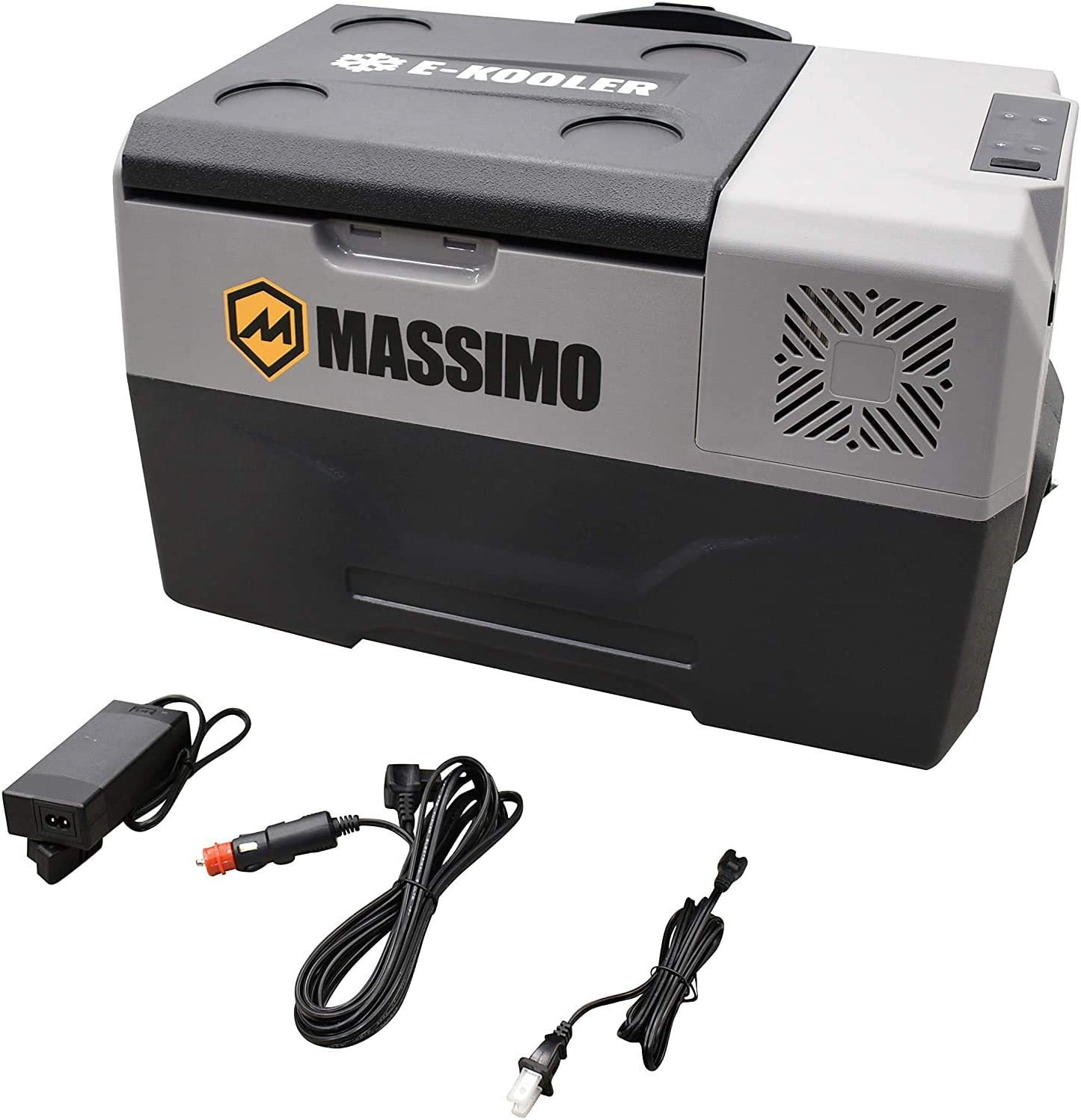 M MASSIMO MOTOR 30L Electric Cooler with Trolley Wheels & Telescopic Handle | 12V DC AC Portable Refrigerator | Travel Freezer for Picnic, Camping, Boat & Car, 30L-Medium