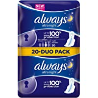 Always - Ultra Night - Serviettes Hygiéniques avec Ailettes - 20x