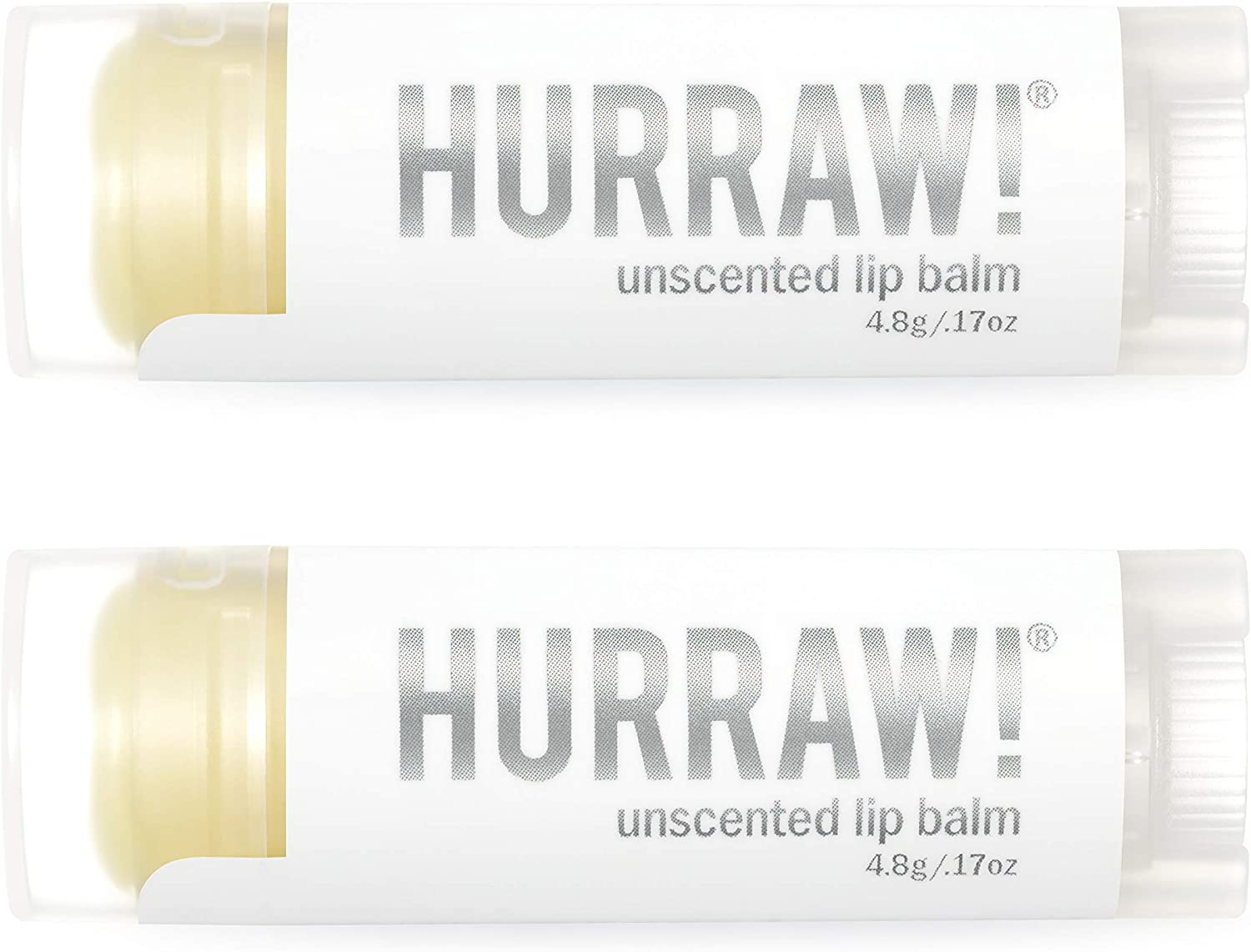 Hurraw Unscented Lip Balm, 2 Pack – Organic, Certified Vegan, Cruelty and Gluten Free. Non-GMO, 100% Natural Ingredients. Bee, Shea, Soy and Palm Free. Made in USA