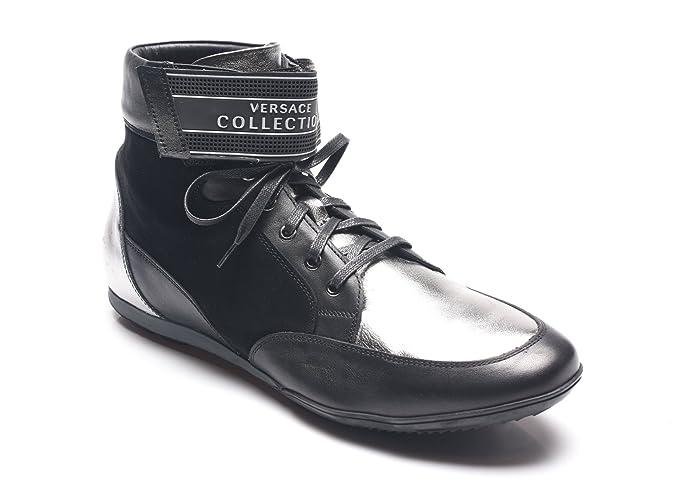Versace Collection negro y plata de cuero High Top Zapatillas: Amazon.es: Ropa y accesorios