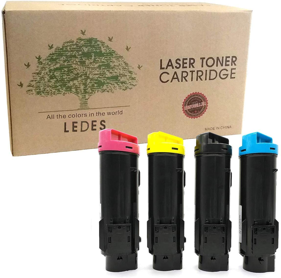 Ledes 5-Pack Compatible Toner Cartridge for Dell H825 S2825 H625 2825 H825cdw S2825cdn H625cdw 593-BBOW 593-BBOX 593-BBOY 593-BBOZ Printers High Yield (2 Black, 1 Cyan, 1 Yellow, 1 Magenta)