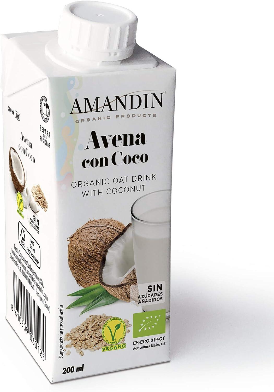 Amandin Bebida Ecológica De Avena Con Coco 200Ml. 200 ml - Pack de 24: Amazon.es: Alimentación y bebidas
