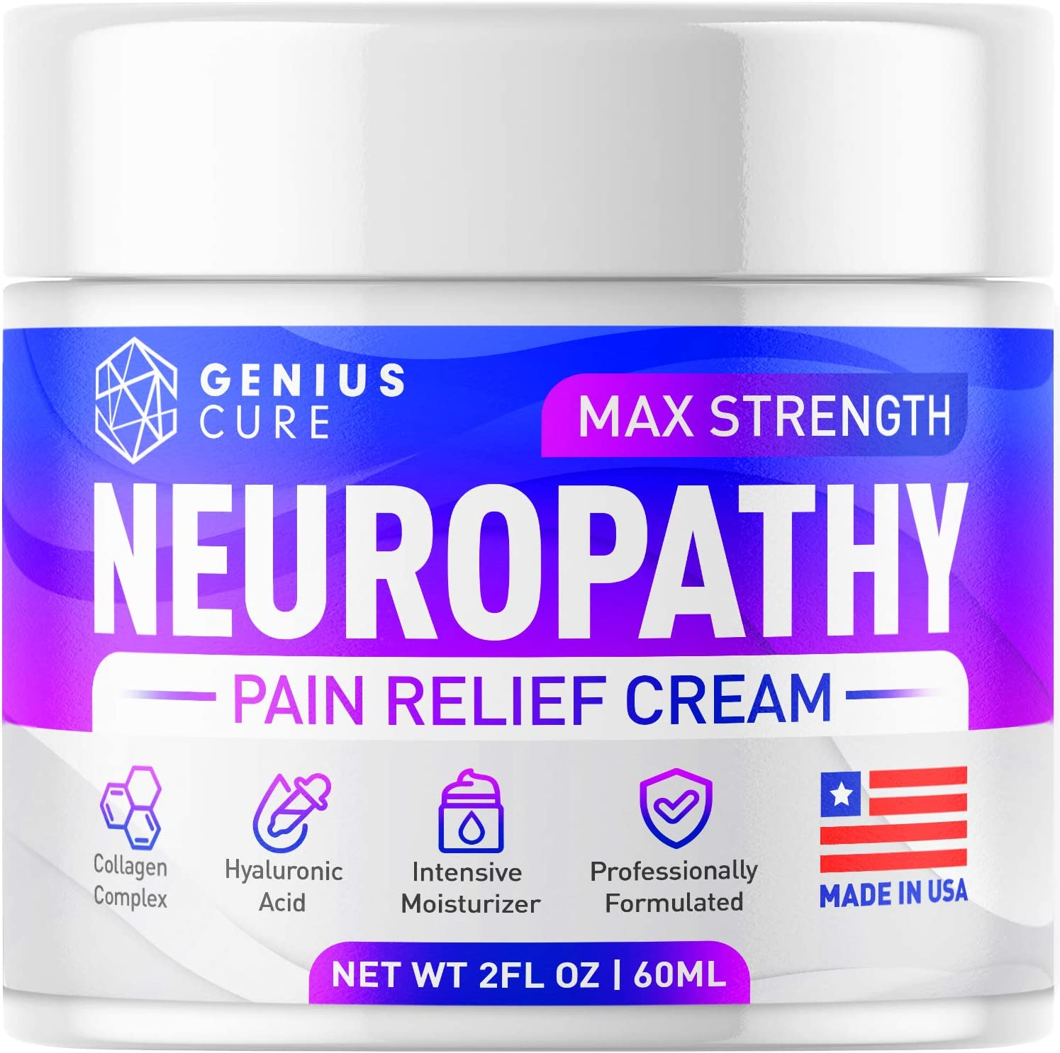 Genius Neuropathy Nerve Pain Relief Cream - Maximum Strength Relief Cream for Foot, Hands, Legs, Toes Includes Arnica, Vitamin B6, Aloe Vera, MSM - Scientifically Developed for Effective Relief 2oz