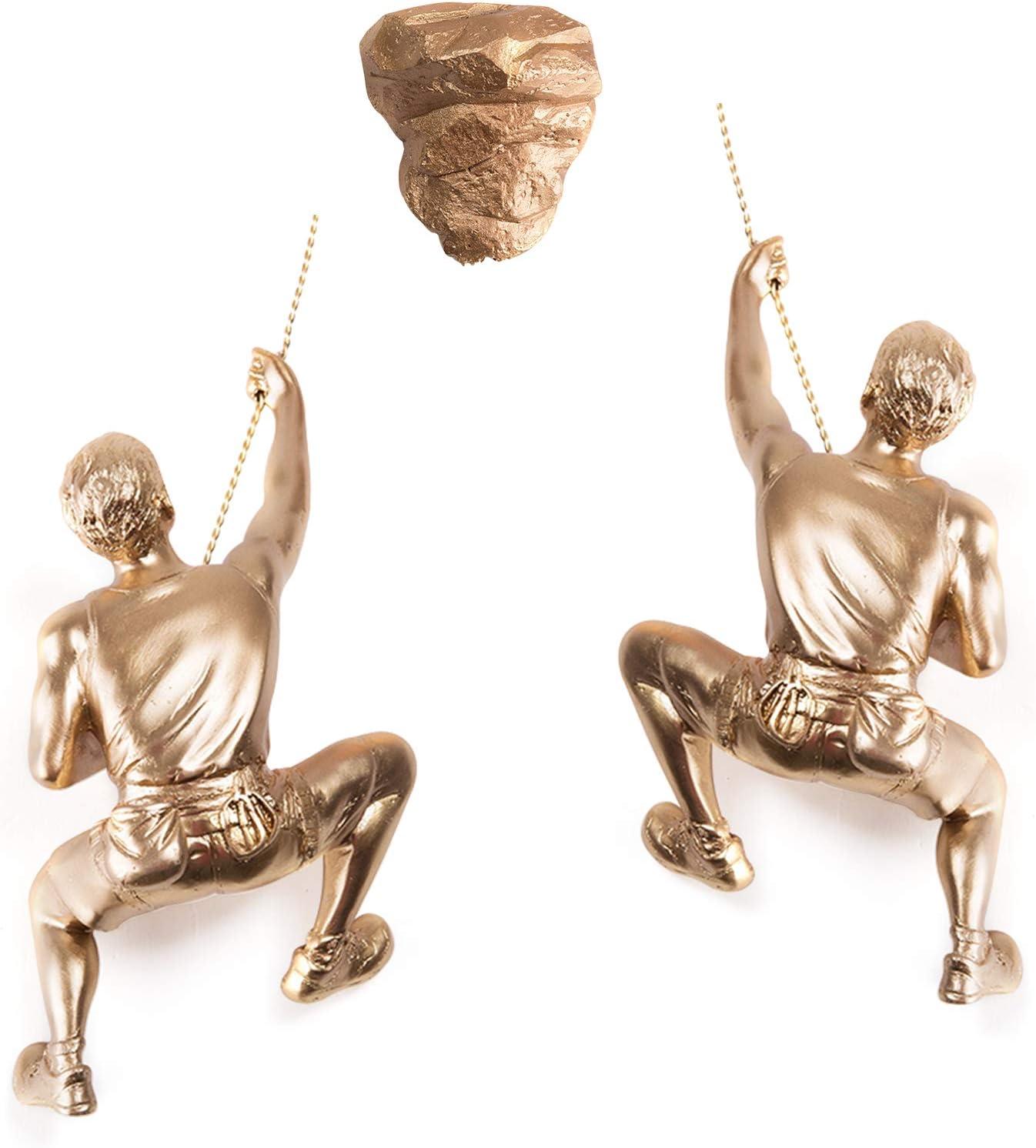 Olpchee Men Climbing Wall Sculpture Resin Art Wall Sculptures Home Decor Vintage Statue Figure Kit for Home Office Shop 3Pcs/Set (Gold)