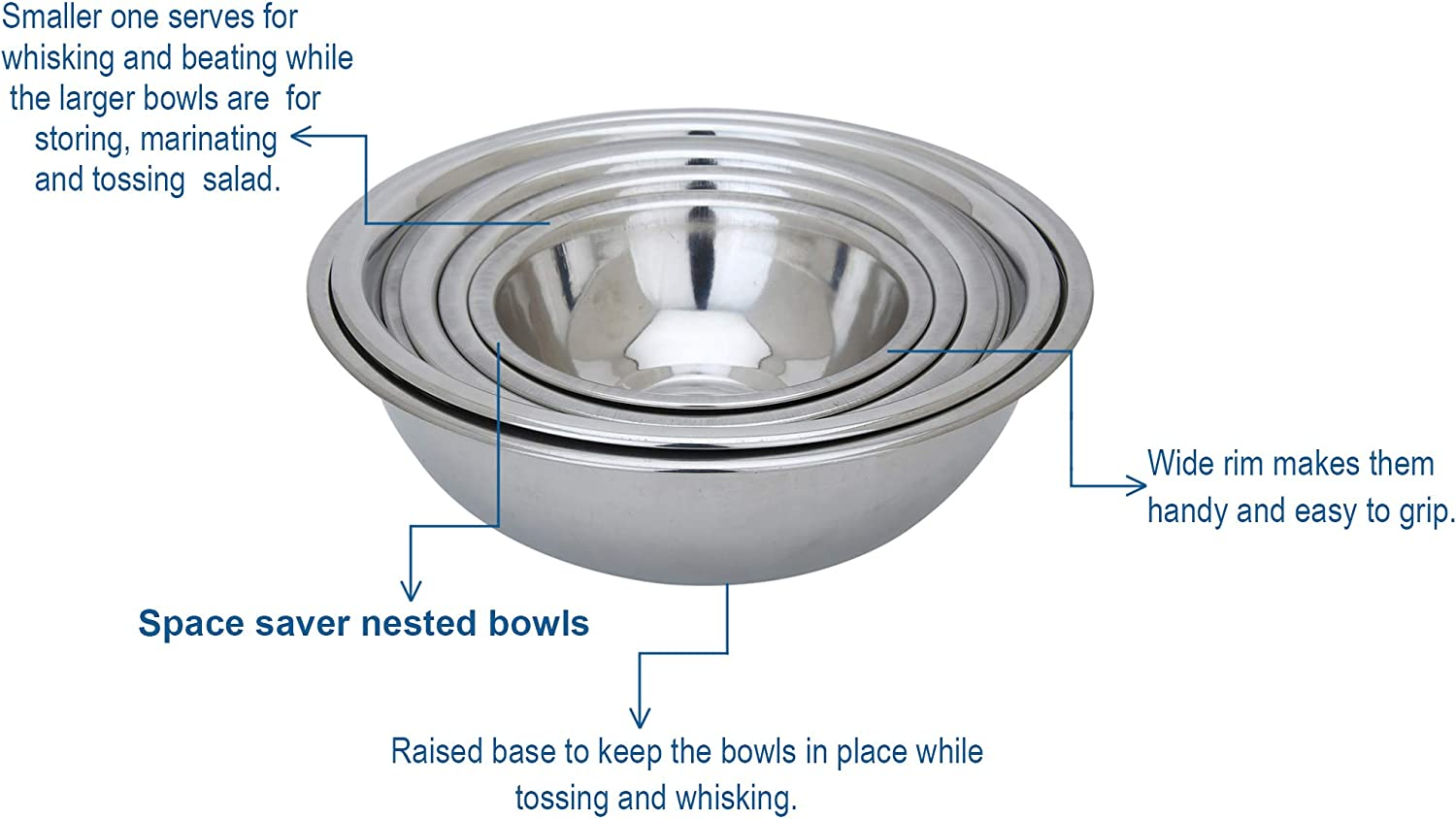 Set of 6 Polished Mirror Finish Nesting Bowl for Baking Salad Mixing and Serving Cooking Supplies Premium Quality Stainless Steel Mixing Bowls