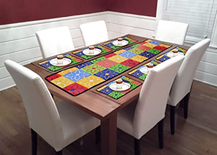 V4 Trends PVC 6 Seater Water Proof Dining Table Runners with Placemats (Multicoloured)