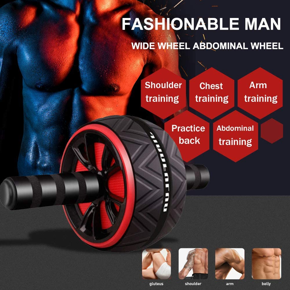 Dual AB Roller with Kneee Pad Back Chest Muscle Exercise Home Gym Health Massage