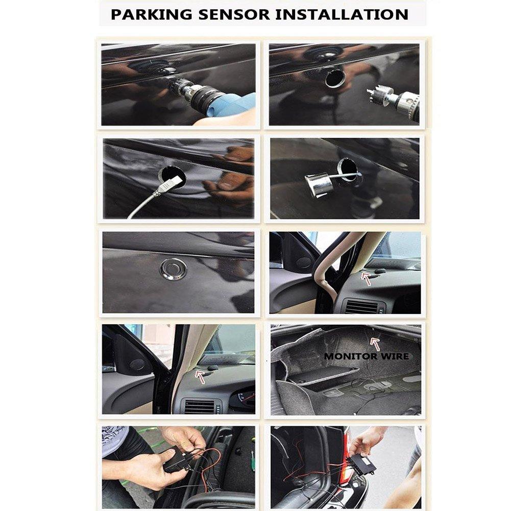 Kit Radar de Recul 4 Capteurs Aide au Stationnement Auto Syst/ème Parcage Stationnement Num/érique Ecran LED avec Distance Affichage R/étro Aide au Parcage Double CPUs par sweetlife
