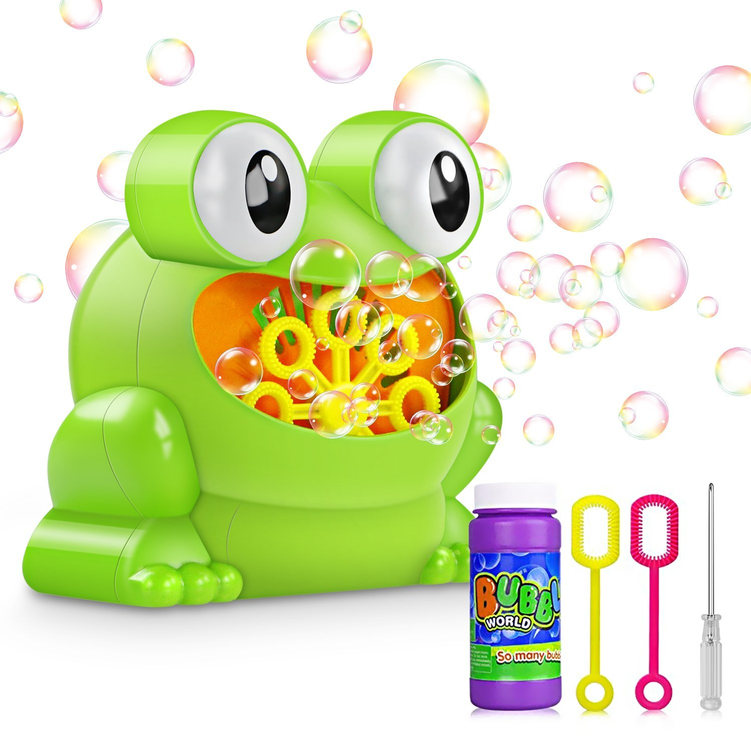Tencoz Bubble Machine, Kids Automatic Durable Bubble Maker Blower with 1 Nontoxic Bubble Solution 2 Bubble Wands for Park Wedding Indoor and Outdoor Party Christmas Birthday Gift(Frog)