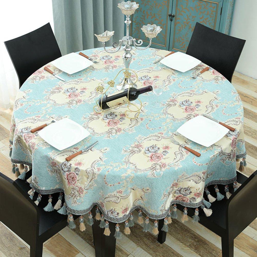 Bbdsj Redondo mantel Mantel de casa Mantel de grado superior familia moderna Mantel deluxe Borla Colgante de costura de oído Mantel azul-Azul diámetro140cm(55inch)
