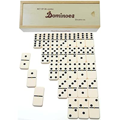 Deluxe Games and Puzzles Dominoes Jumbo Tournament Off-White Color with Black Pips _ Double Six Set of 28 _with Brass Spinners: Toys & Games