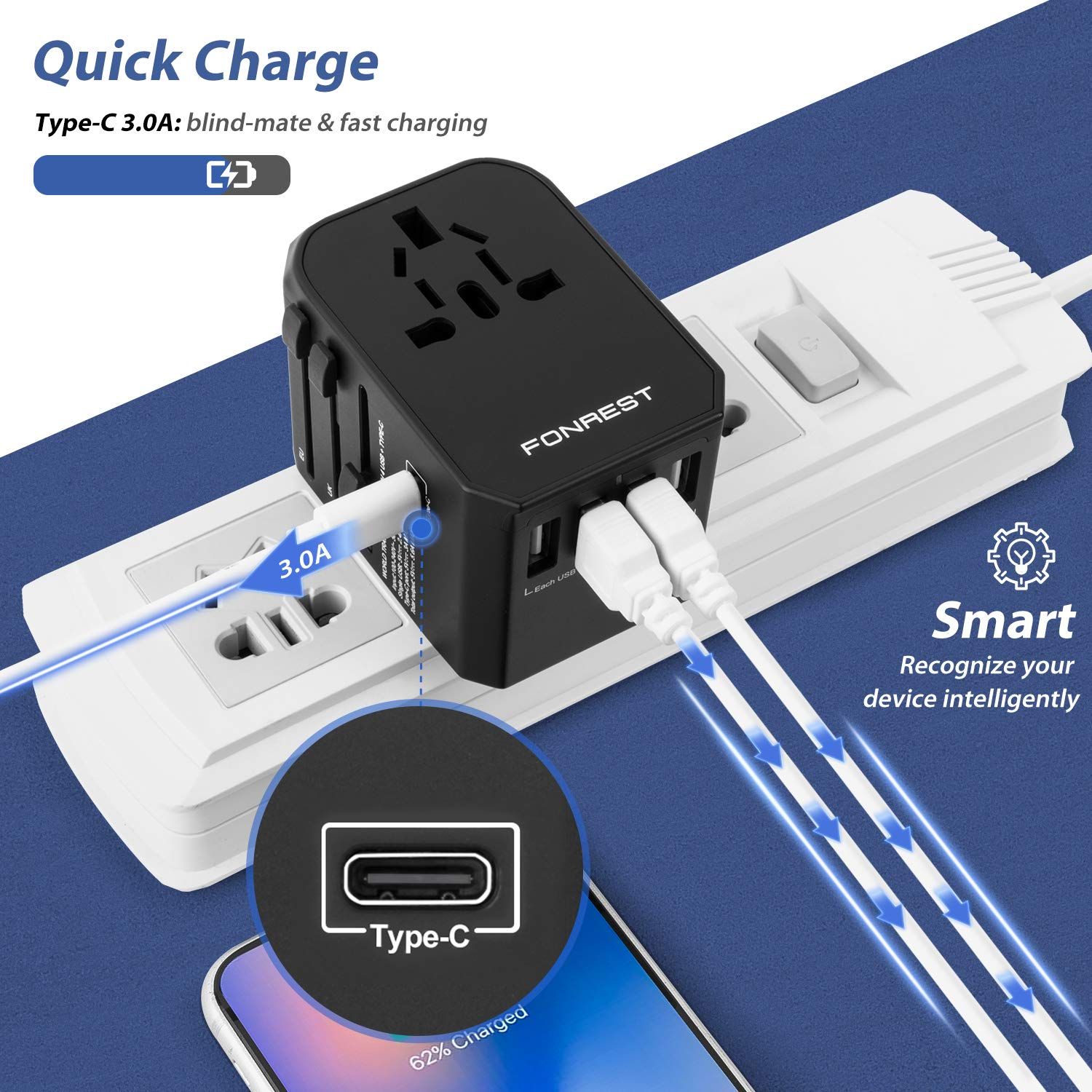 Universal Travel Power Adapter with 4 USB TypeC Quick Charge All in One AC Socket for 880W Hair