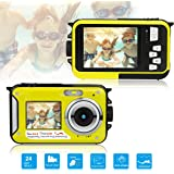 Dual Screen Waterproof Underwater Sports Action HD Mini Digital Video Recorder Camera,24MP 1080P Point and Shoot Digital Camcorder Camera-Yellow