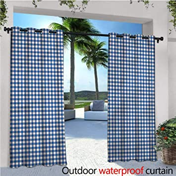 Warmfamily Abstract Exterior/Outside Curtains Picnic Style Motif For Patio  Light Block Heat Out Water