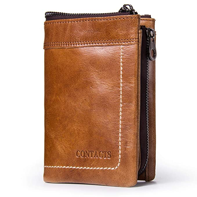 e7d635f67 Contacts Real Leather Mens Wallets Purse Card Holder Money Clip Zipper Coin  Pocket Brown