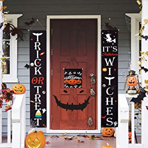 HBlife Halloween Decorations Outdoor Trick or Treat & It's October Witches Halloween Banner for Front Door or Indoor Home Decor Porch Decorations