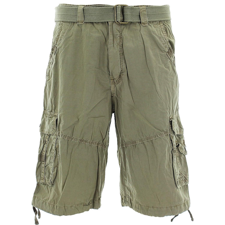Seven Souls - Men's Belted Snap Buttoncargo Shorts - Khaki