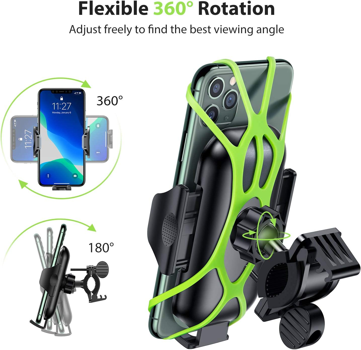 VICSEED Metal Bike Phone Mount Holder Motorcycle Phone Mount Universal Handlebar Clamp for Bike Motorcycle ATV Bicycle Phone Mount Fit for iPhone SE 11 Pro Max XS Samsung S20 Note10 GPS All Phones