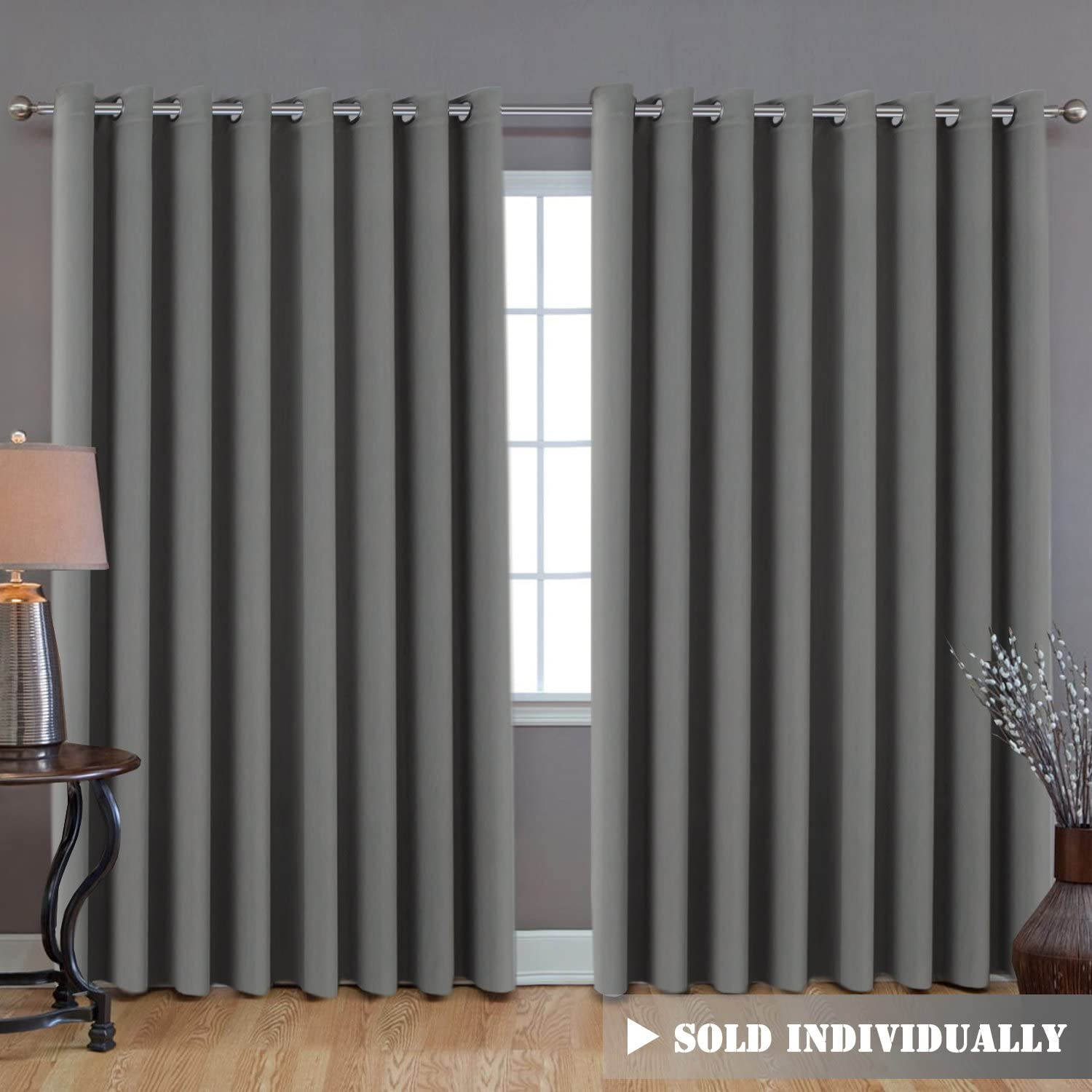 "H.VERSAILTEX Blackout Patio Grey Curtains, Extra Long and Wider (100"" W by 108"" L) Thermal Insulated Panel Premium Room Divider, No One Can See Through (9' Tall by 8.5' Wide) - Dove Grey"