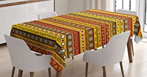 "Ambesonne Primitive Decor Tablecloth, Art with Abstract Pattern Ancient Indigenous Rug Motif with Primitive Symbol, Rectangular Table Cover for Dining Room Kitchen, 60"" X 90"", Orange Yellow"