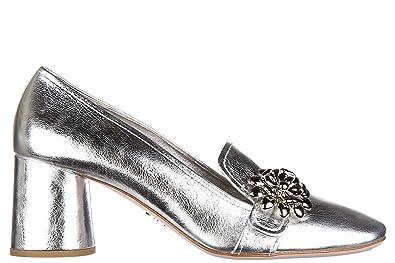Prada Damenschuhe Leder Pumps mit Absatz High Heels Silber
