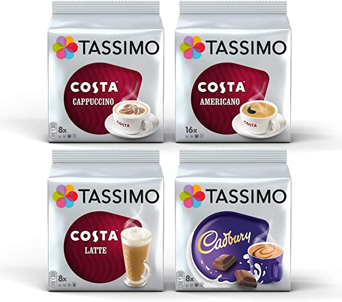 Tassimo Costa Coffee Bundle Costa Cappuccino Americano Latte Cadbury Capsules 4 Packs 40 Servings