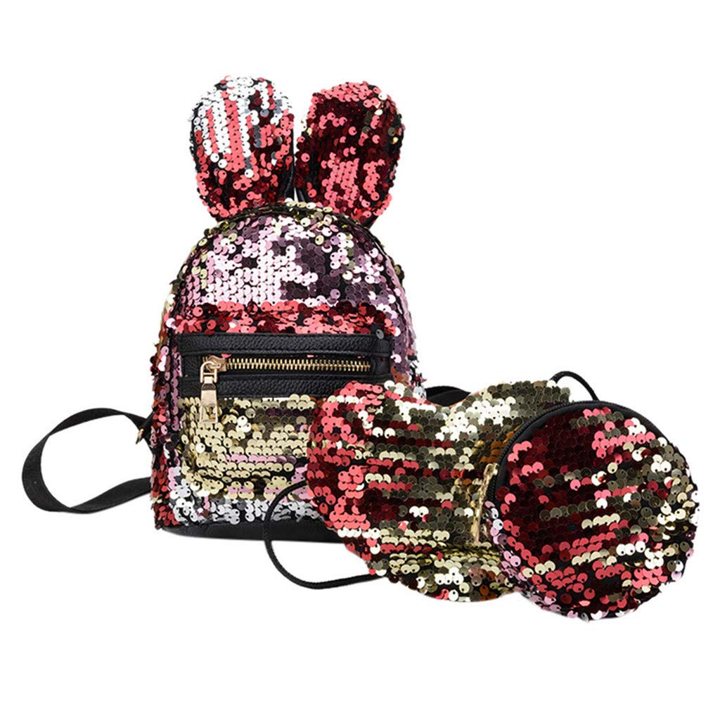 Fashion 3Pcs Girl's Sequins Bunny Ears Bag Backpack, School Bag Backpacks+Messenger Bag+Pen Bag Clutch by Tigivemen Bag