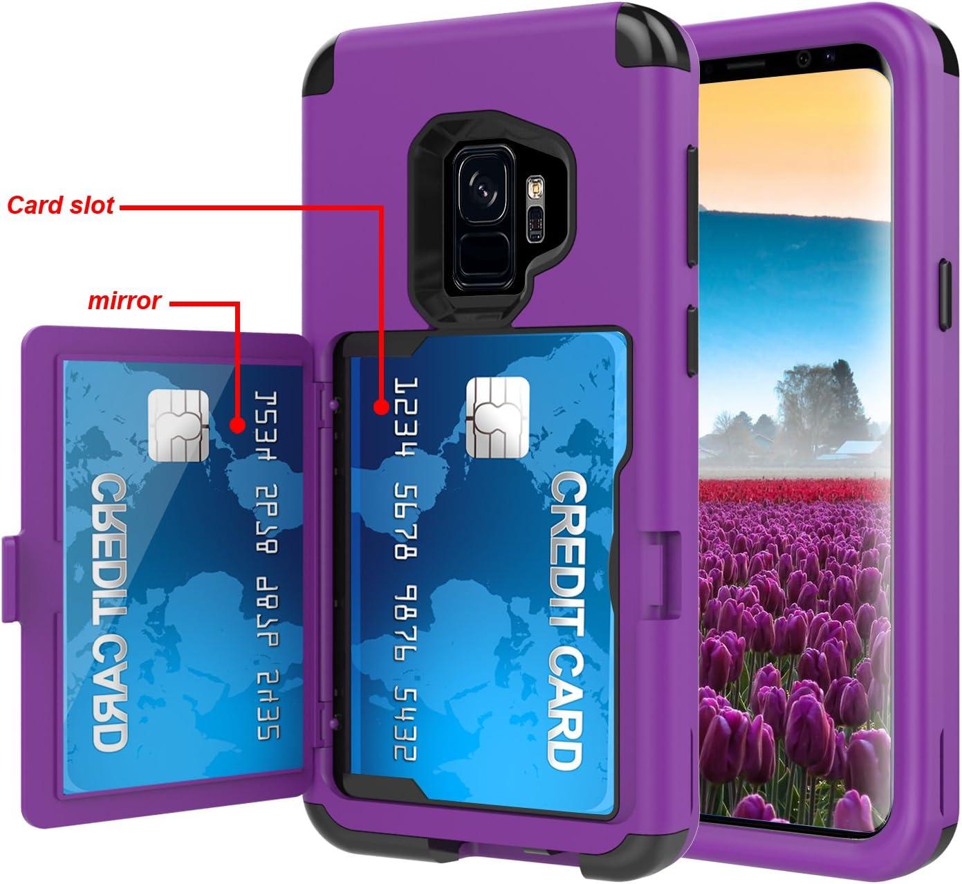 Sumsung Galaxy S9 Étui portefeuille 3 en 1 résistant aux chocs avec miroir arrière caché et porte-cartes pour Samsung Galaxy S9